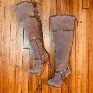 Colin Stuart Mauve suede platform stiletto boots 8